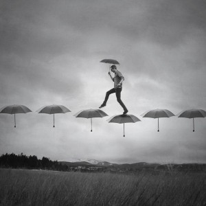walking on umbrellas